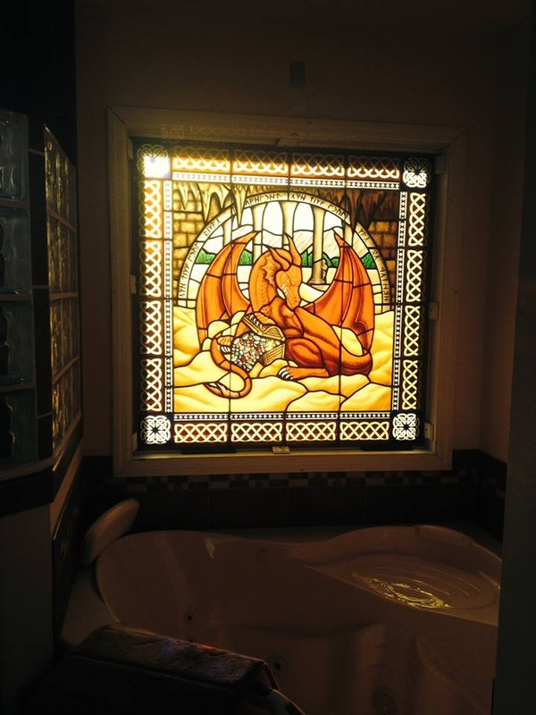 Painted Stained Glass Bathroom Window